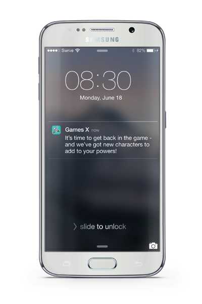 Gaming mobile app customer re-engagement push notification