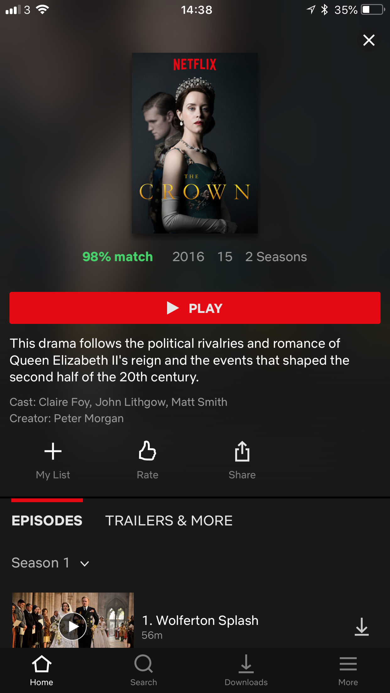 Netflix programme selection screen The Crown