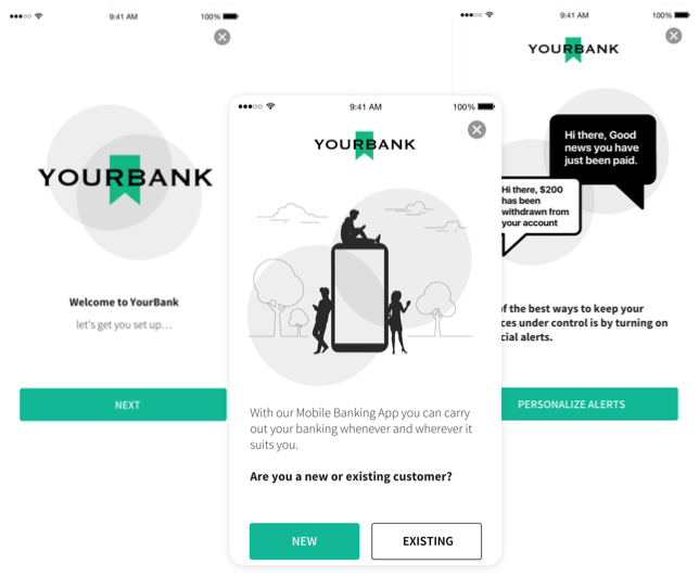 Bank sign up three step process screens