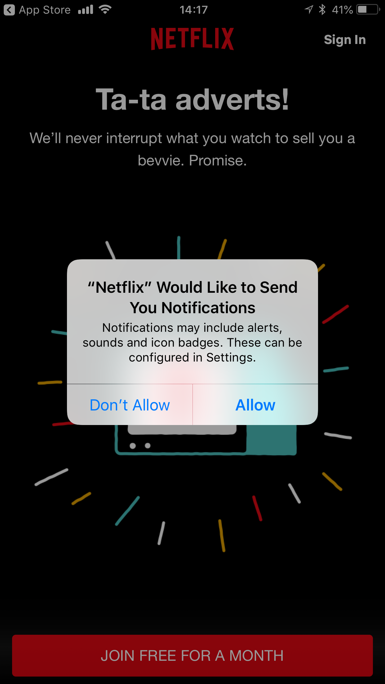 Netflix app permission request push notification