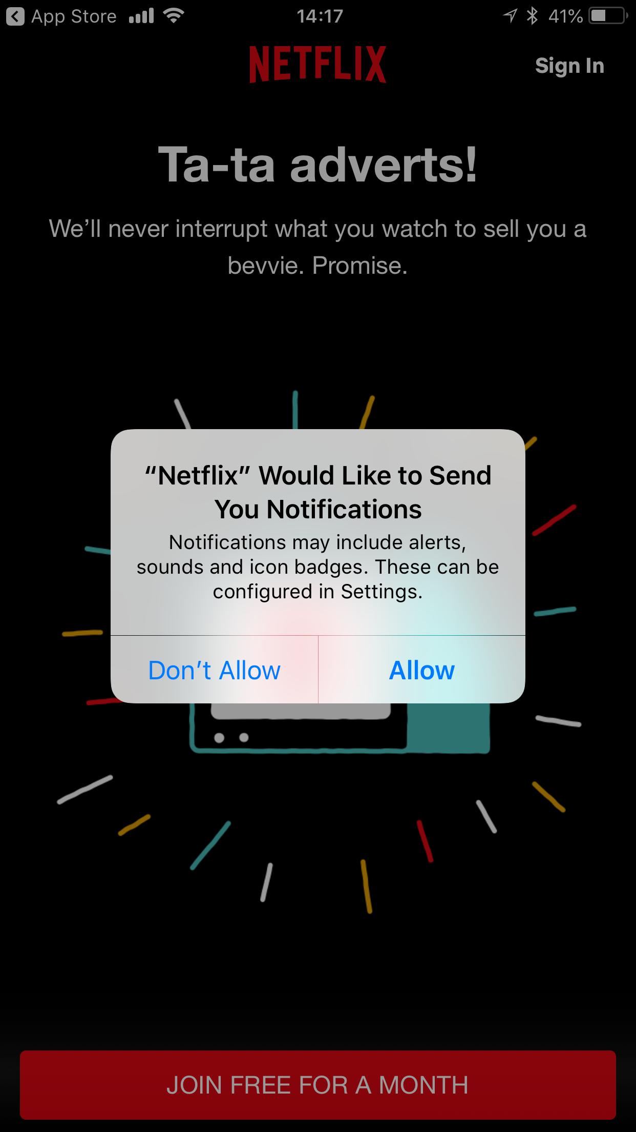 Netflix app permission request push notification