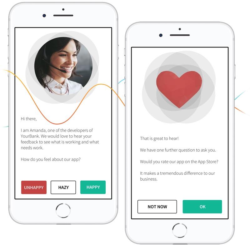 Finance customer satisfaction in app message survey screen