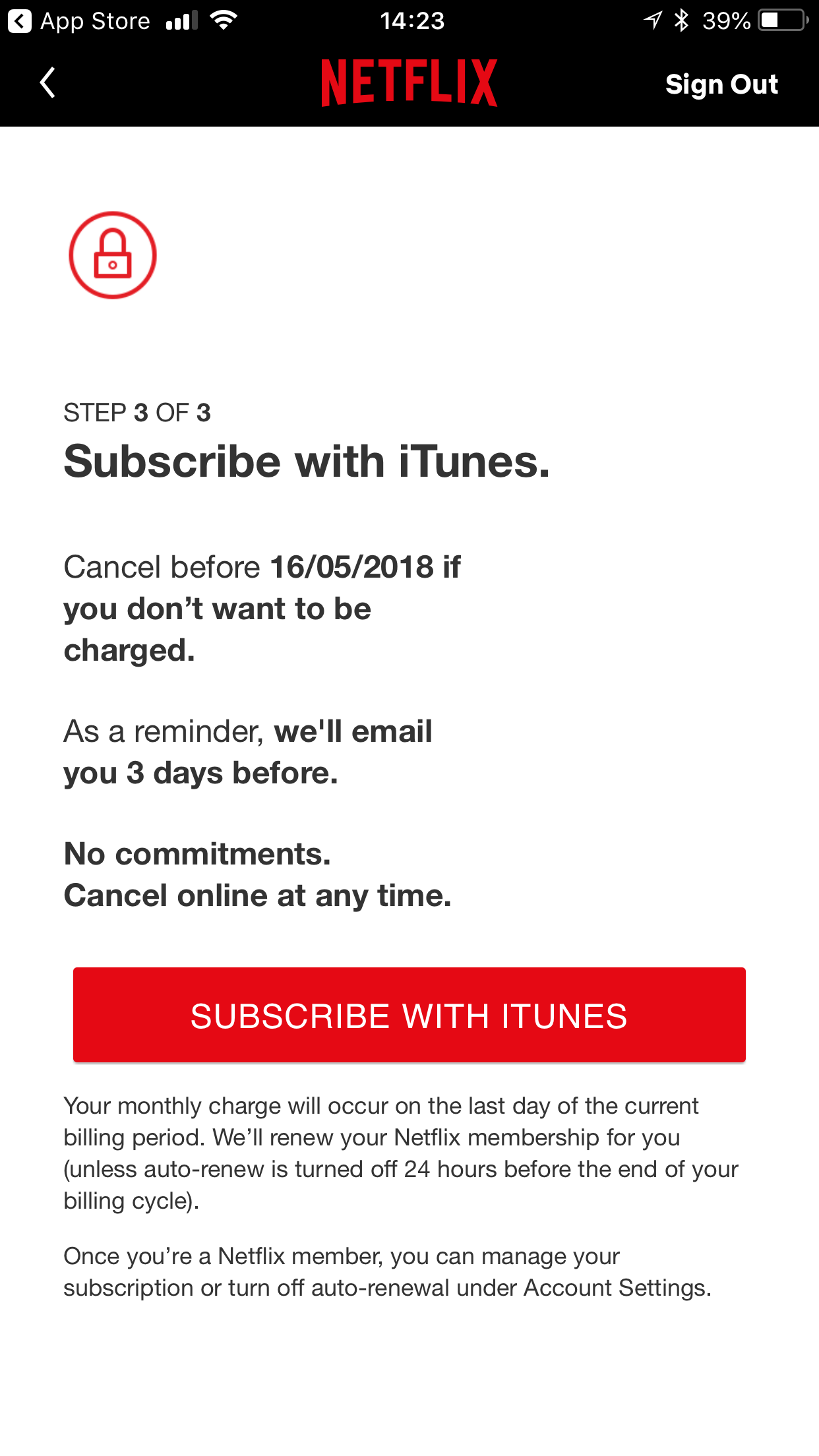 Netflix app sign up stage screen