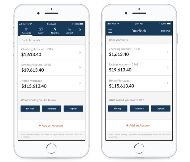 Two examples of differing app UX (A/B Test)