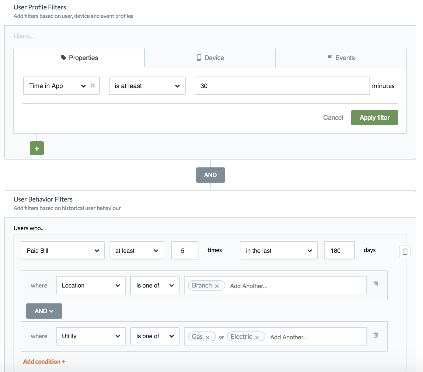 Example dashboard showing intent engine use case