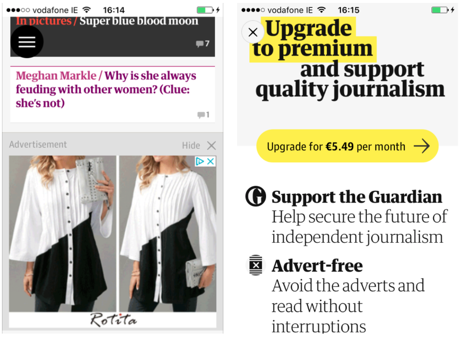 Guardian subscription screens, top news app