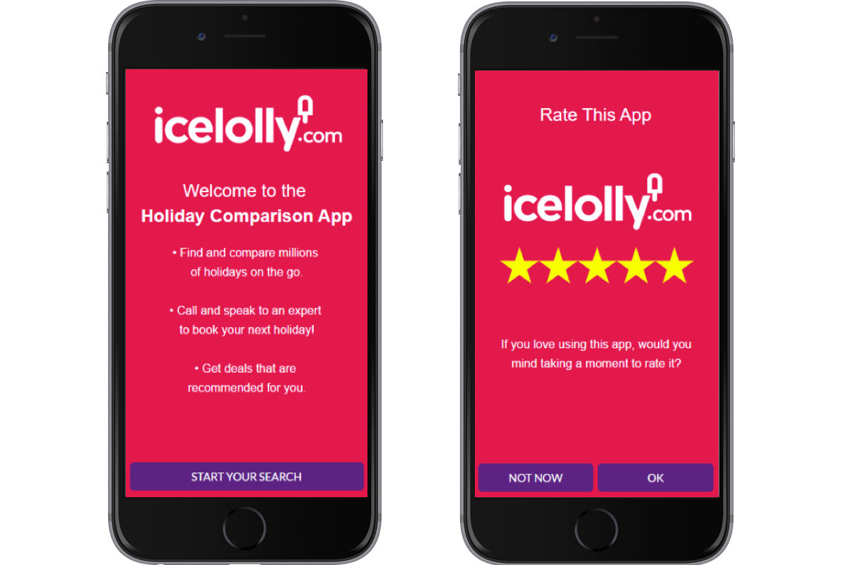 Ice Lolly holiday comparison app screen - star rating