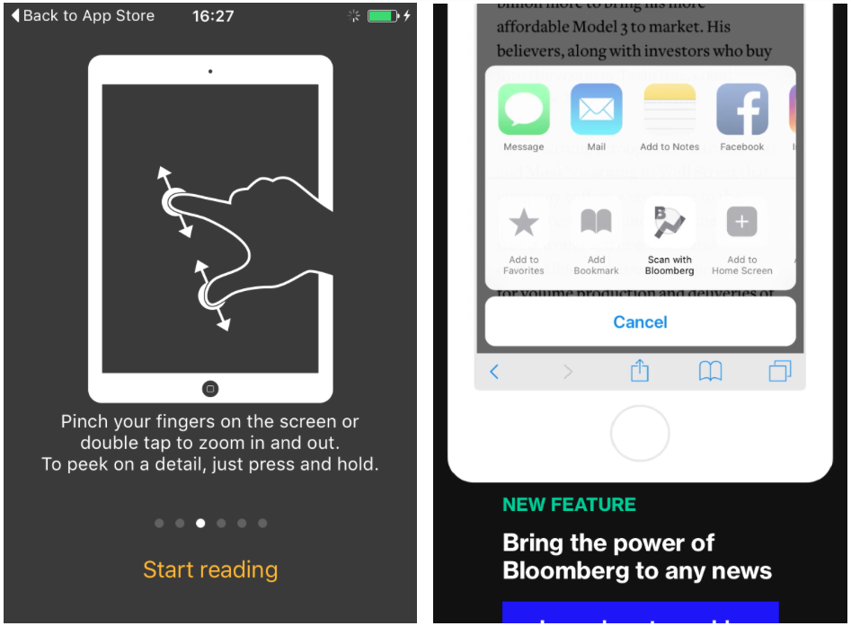 Onboarding screens in top news apps