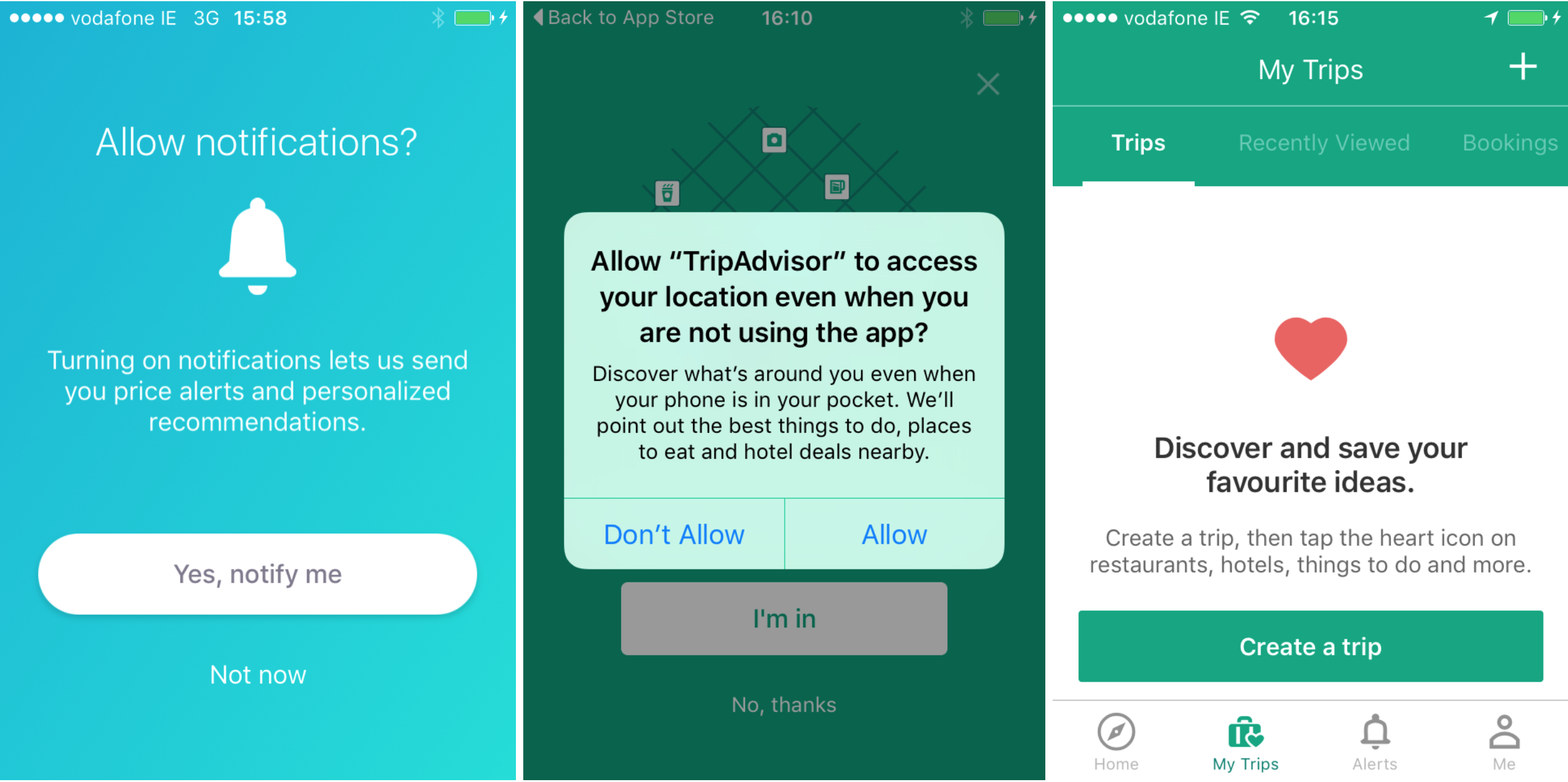 Screenshot showing travel app with permissions