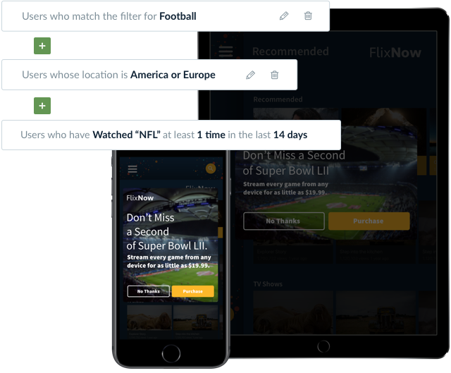 Segmentation of users to target a sports media package