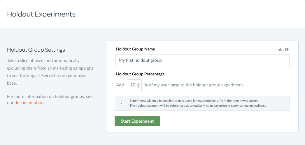Holdout  Experiments Group settings