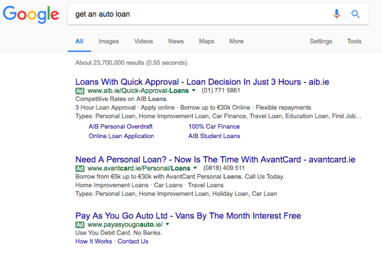 A typical google search: auto loans